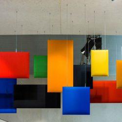 Pannelli fonoassorbenti multicolor in sospensione