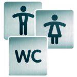 8b - Ecco i classici pittogrammi per le toilette rivisti in chiave contemporanea grazie all'impiego dell'acciaio inossidabile satinato.