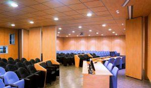 Nelle sale conferenze, le pareti manovrabili consentono una migliore gestione degli spazi a disposizione. La controsoffittatura realizzata con pannelli fonoassorbenti assicura un'ottima acustica.