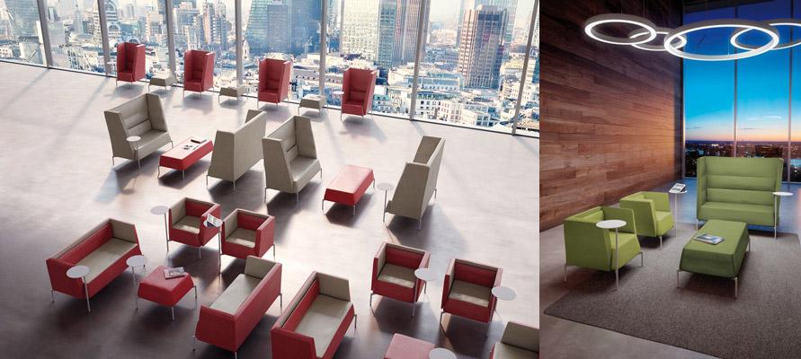 Sedute da attesa Kendo di Kastel, perfette per una hall in stile contemporaneo. Lo schienale alto è in materiale insonorizzante, garantendo la privacy di chi vi si accomoda. Le sedute più classiche, invece, possono essere completate da una gamba-tavolino.