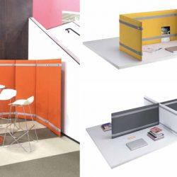 Il divisorio fonoassorbente con cinghie, nelle versioni da pavimento e da tavolo.