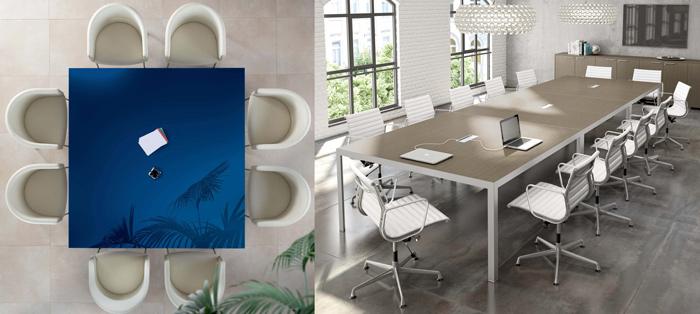 Scegliendo due o più tavoli di dimensioni ridotte, la sala riunioni può essere assemblata su necessità. Nell'immagine, due proposte di About Office.