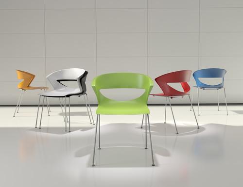Kikka è una delle nostre sedute da attesa più vendute. Impilabile, resistente, comoda e di design. [Kastel]