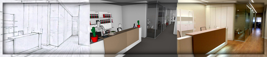 Disegno, render, fotografia di un progetto di arredo ufficio