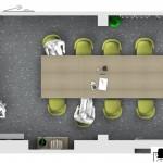 Sala riunioni - Dettaglio tavolo riunioni e sedute